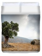 Lonely Olive Tree And Stormy Cloudy Sky Duvet Cover