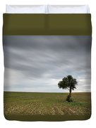 Lonely Olive Tree With Moving Clouds Duvet Cover