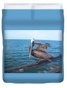 Lonely Pelican  Duvet Cover