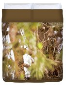 Long-eared Owl Asio Otus In A Tree Duvet Cover