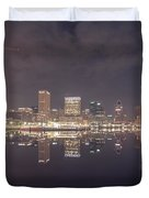 Long Exposure Of The Colorful Baltimore Skyline Duvet Cover
