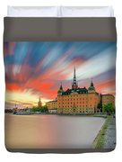 Long Exposure Stockholm Sunset Duvet Cover
