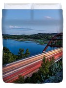 Long Exposure View Of Pennybacker Bridge Over Lake Austin At Twilight - Austin Texas Hill Country Duvet Cover