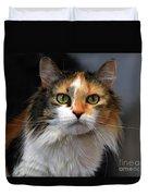 Long Haired Calico Cat Duvet Cover
