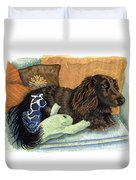 Long-haired Dachshund Watercolor Duvet Cover