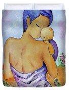 Long Impasto Motherhood Vertical Painting  Duvet Cover