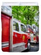 Long Line Of Fire Trucks Duvet Cover