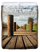 Long Long Way To The Bayou - Louisiana Dock Duvet Cover