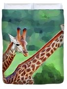 Long Necked Giraffes 2 Duvet Cover