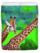 Long Necked Giraffes 3 Duvet Cover