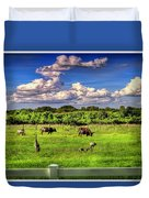 Longhorns At The Ranch Duvet Cover