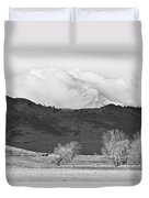 Longs Peak Snow Storm Bw Duvet Cover