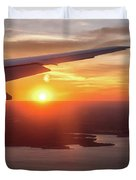 Looking At Sunset From Airplane Window With Lake In The Backgrou Duvet Cover