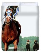 Looking Back, 1 1/2 Mile Belmont Stakes Secretariat 06/09/73 Time 2 24 - Painting Duvet Cover