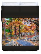 Looking Down A Trail On Bear Mountain New York Duvet Cover