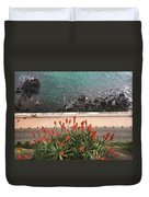 Looking Down, Angra Do Heroismo, Terceira Island Of Portugal Duvet Cover by Kelly Hazel