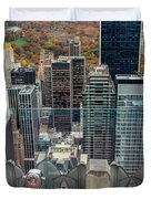 Looking Down At New York Central Park Surounded By Buildings Duvet Cover