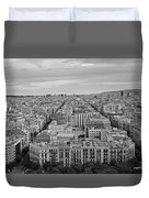 Looking Down On Barcelona From The Sagrada Familia Black And White Duvet Cover