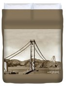 Looking North At The Golden Gate Bridge Under Construction With No Deck Yet 1936 Duvet Cover