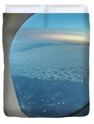 Looking Out Of Airplane Window During Flight Duvet Cover