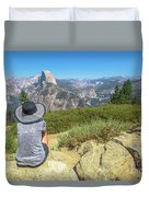 Looking Panorama At Glacier Point Duvet Cover