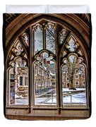 Looking Through An Arched Window At Princeton University At The Courtyard Duvet Cover