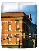 Looking Up Main Street Duvet Cover