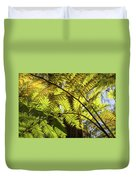 Looking Up To A Beautiful Sunglowing Fern In A Tropical Forest Duvet Cover