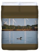 Loon And Windmills Duvet Cover