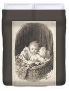 Lorenz Frolich Danish, Copenhagen 1820-1908 Hellerup, Child In A Crib Duvet Cover