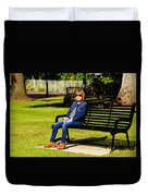 Lorna On A Bench Duvet Cover