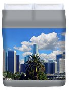 Los Angeles And Palm Trees Duvet Cover