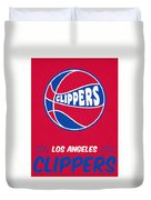Los Angeles Clippers Vintage Basketball Art Duvet Cover