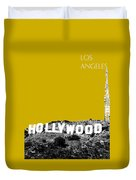 Los Angeles Skyline Hollywood - Gold Duvet Cover