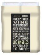 Los Angeles Vintage Places Poster Duvet Cover