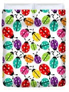 Lots Of Crayon Colored Ladybugs Duvet Cover