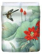 Lotus And Kingfisher Duvet Cover