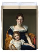 Louis David   Portrait Of The Comtesse Vilain Xiiii And Her Daughter Duvet Cover