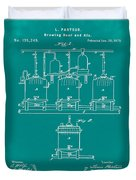 Louis Pasteur Brewing Beer And Ale Patent 1873 Green Duvet Cover
