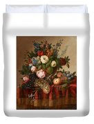 Louis Vidal, Still Life With Flowers And Fruit Duvet Cover