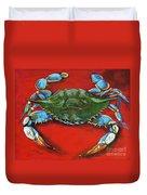 Louisiana Blue On Red Duvet Cover