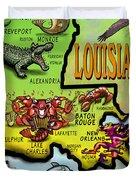 Louisiana Cartoon Map Duvet Cover