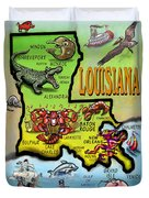 Louisiana Cartoon Map Duvet Cover