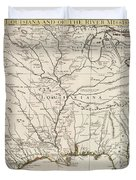 Map Of Louisiana And Of The River Mississippi Duvet Cover