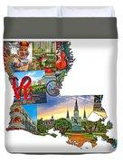 Louisiana Map - New Orleans Duvet Cover
