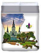 Louisiana Map - St Louis Cathedral Duvet Cover