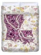 Louisiana State Map Geometric Abstract Pattern  Duvet Cover