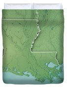 Louisiana State Usa 3d Render Topographic Map Border Duvet Cover