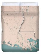 Louisiana State Usa 3d Render Topographic Map Neutral Border Duvet Cover