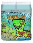 Louisiana Usa Cartoon Map Duvet Cover